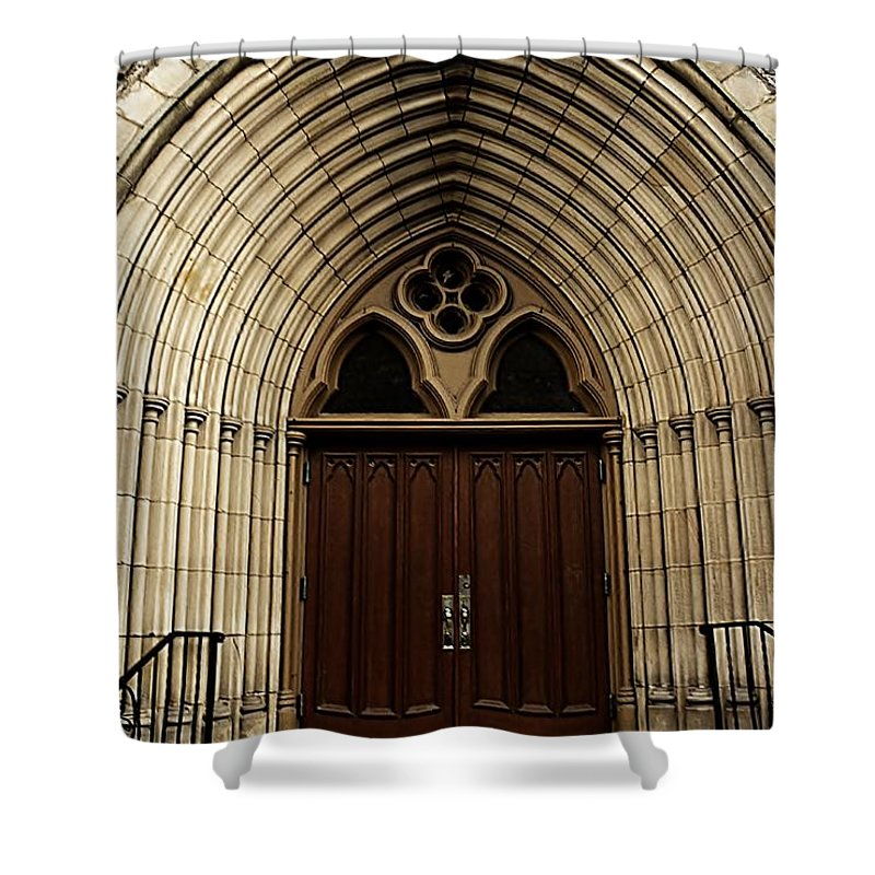 #saint #joseph's #catherdral #church #abbey Shower Curtain featuring the photograph Catherdral Door's by Kathleen Struckle