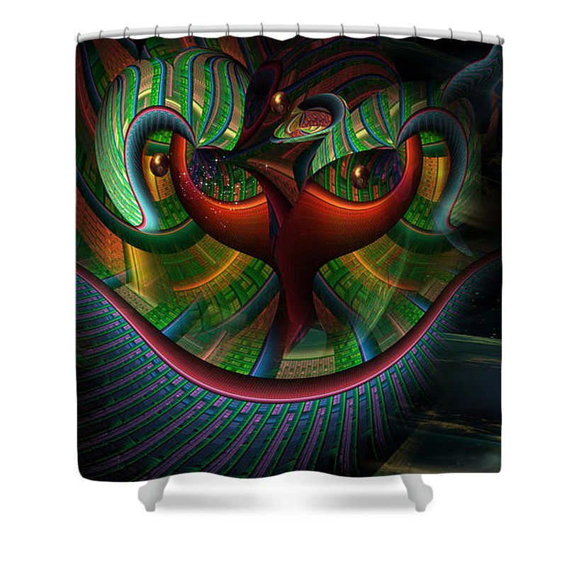 Phil Sadler Shower Curtain featuring the digital art Catitude by Phil Sadler