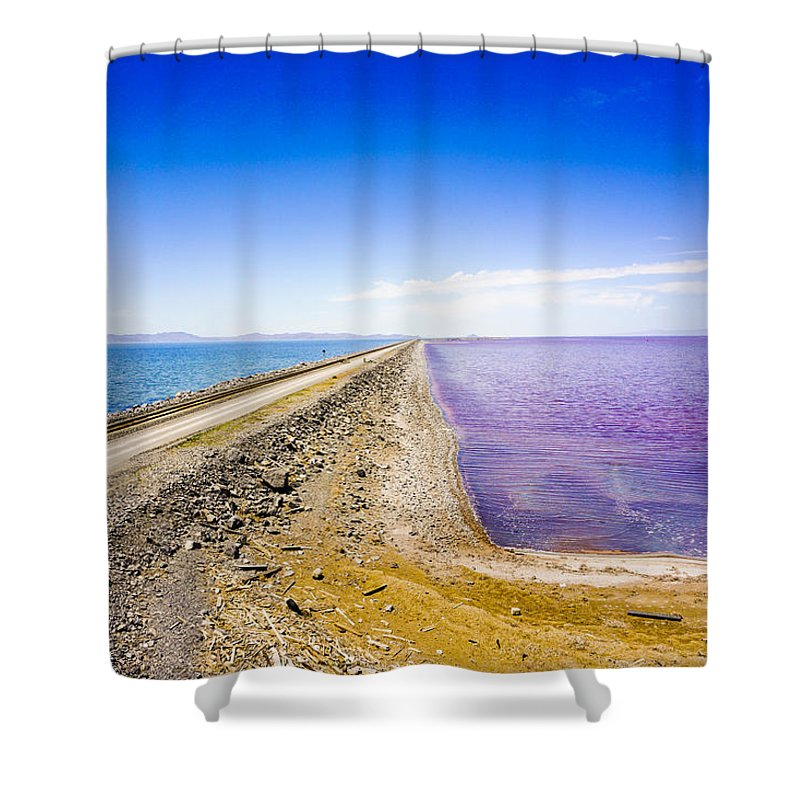 Blue Shower Curtain featuring the photograph Causeway And Salt by Helix Games Photography