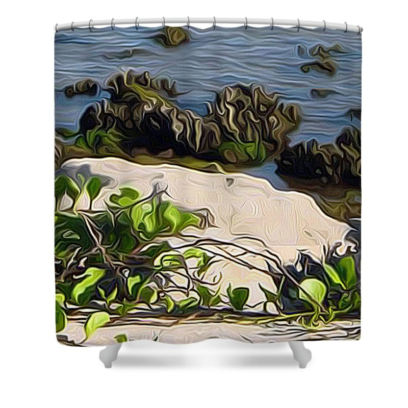 Causeway Shower Curtain featuring the painting Causeway Shore Blues by Ecinja