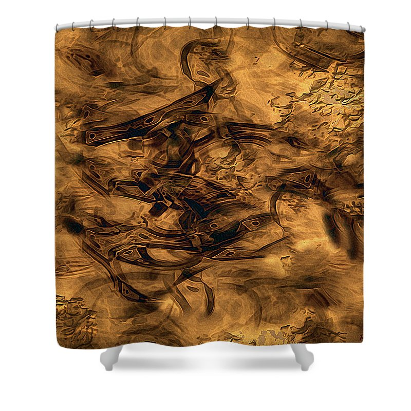 Abstract Shower Curtain featuring the painting Cave Painting by RC DeWinter
