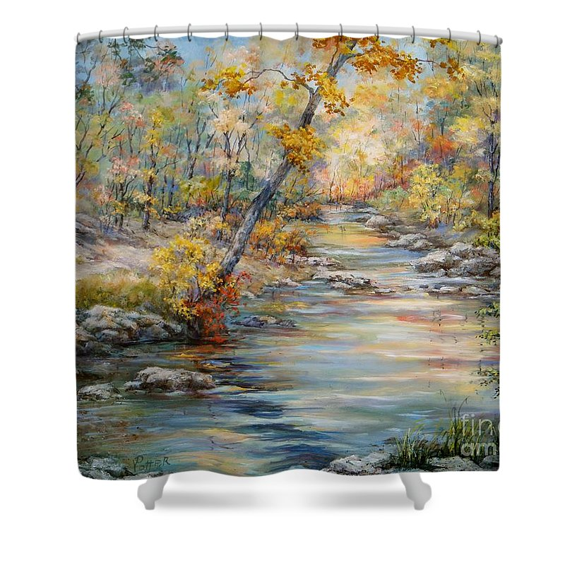 Landscape Shower Curtain featuring the painting Cedar Creek Trail by Virginia Potter