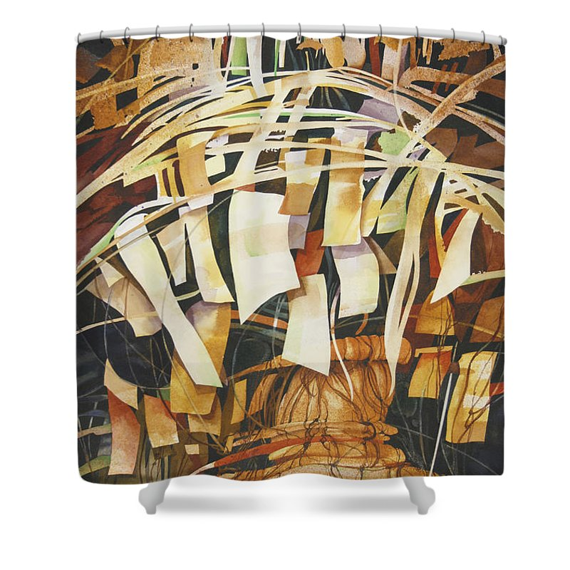 Abstract Shower Curtain featuring the painting Celebration by Joye Moon