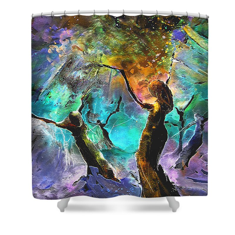 Miki Shower Curtain featuring the painting Celebration Of Life by Miki De Goodaboom
