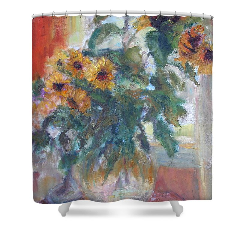 Sunflower Shower Curtain featuring the painting Sale - Sunflowers In Window Light - Original Impressionist - Large Oil Painting by Quin Sweetman