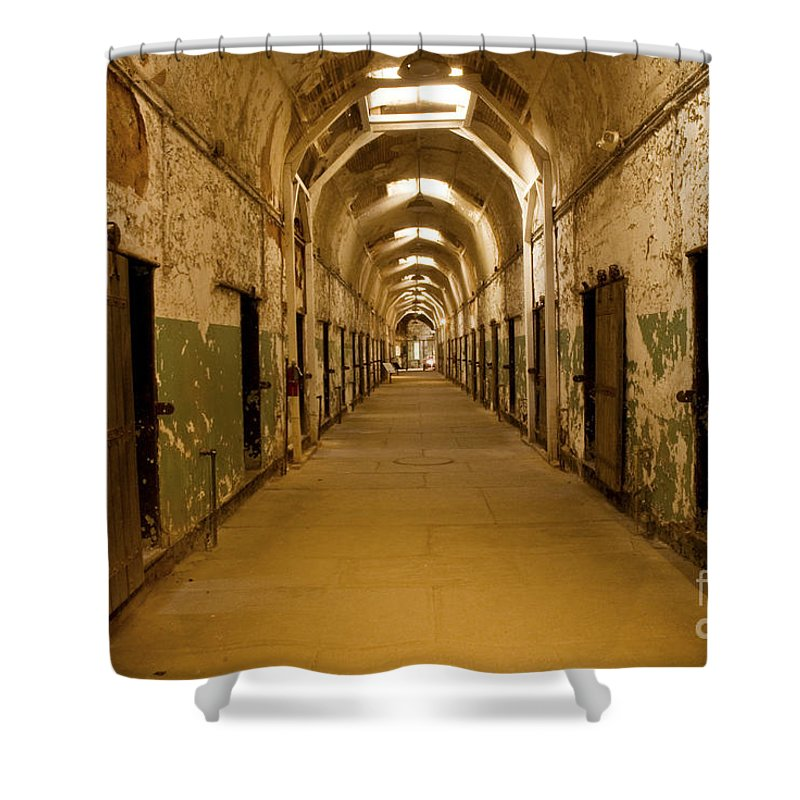 Eastern State Penitentiary Shower Curtain featuring the photograph Cell Block 5 by Paul W Faust - Impressions of Light