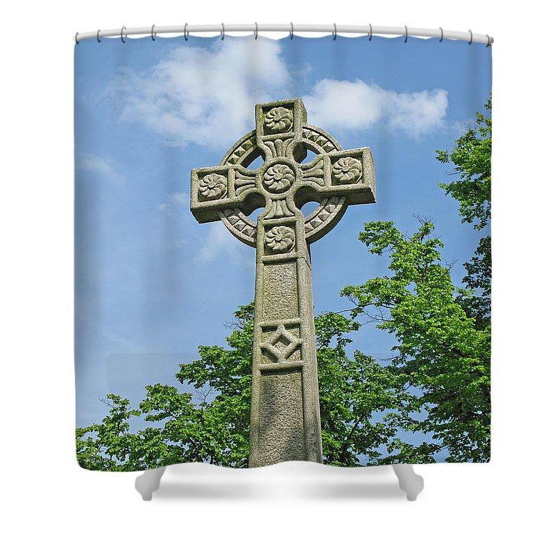 Cross Shower Curtain featuring the photograph Celtic Cross by Ann Horn