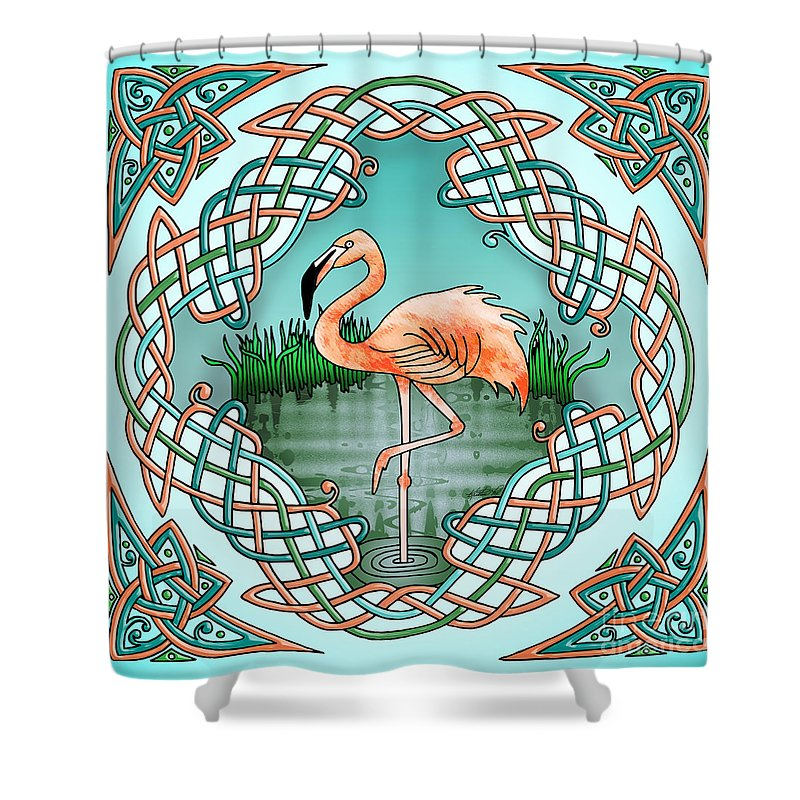 Shower Curtain featuring the drawing Celtic Flamingo Art by Kristen Fox