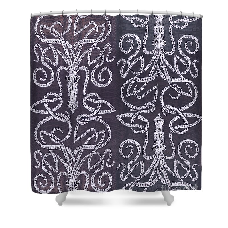 Celtic Knot Shower Curtain Featuring The Drawing Plum Kraken By CR Leyland