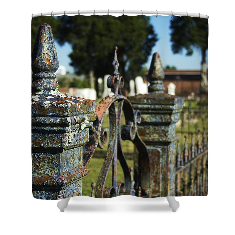 Graveyard Shower Curtain featuring the photograph Cemetery Gate With Peeling Paint by Kathy Clark