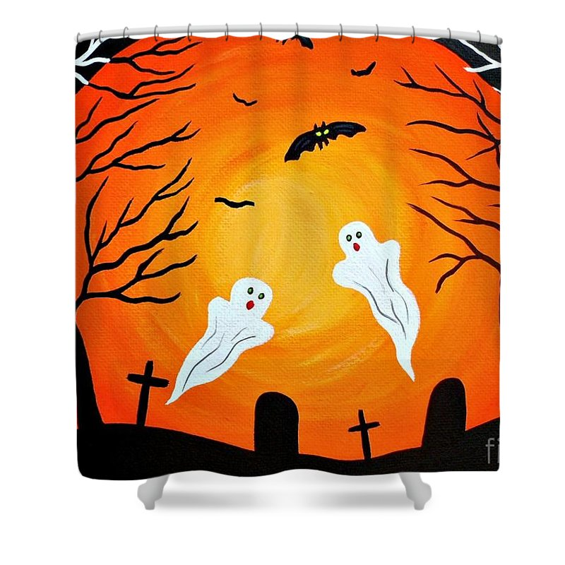 Halloween Shower Curtain featuring the painting Cemetery Ghosts by JoNeL Art