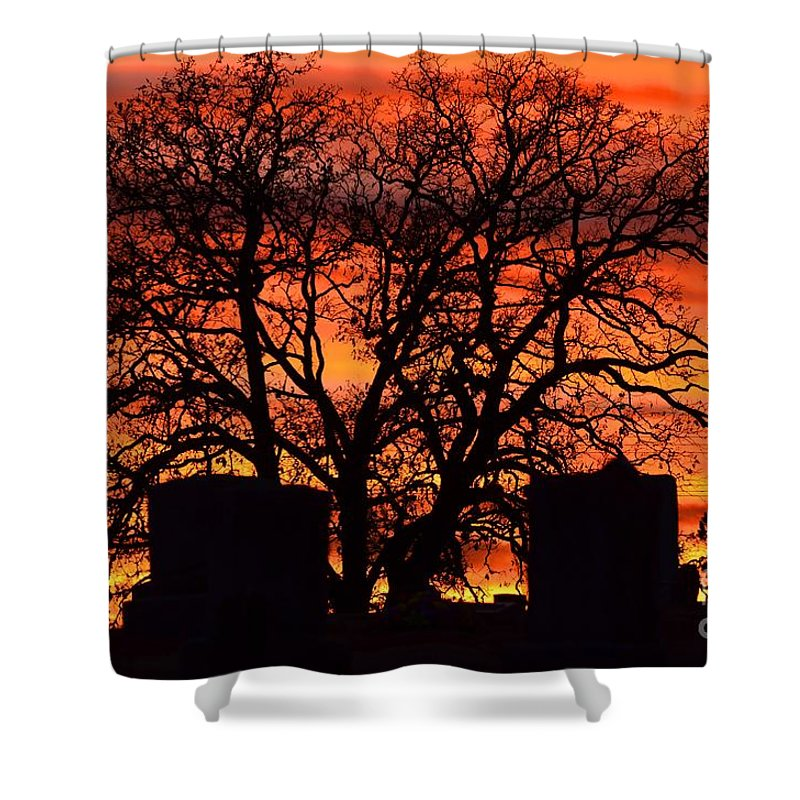 Sunset Shower Curtain featuring the photograph Cemetery Sunset by Deanna Cagle