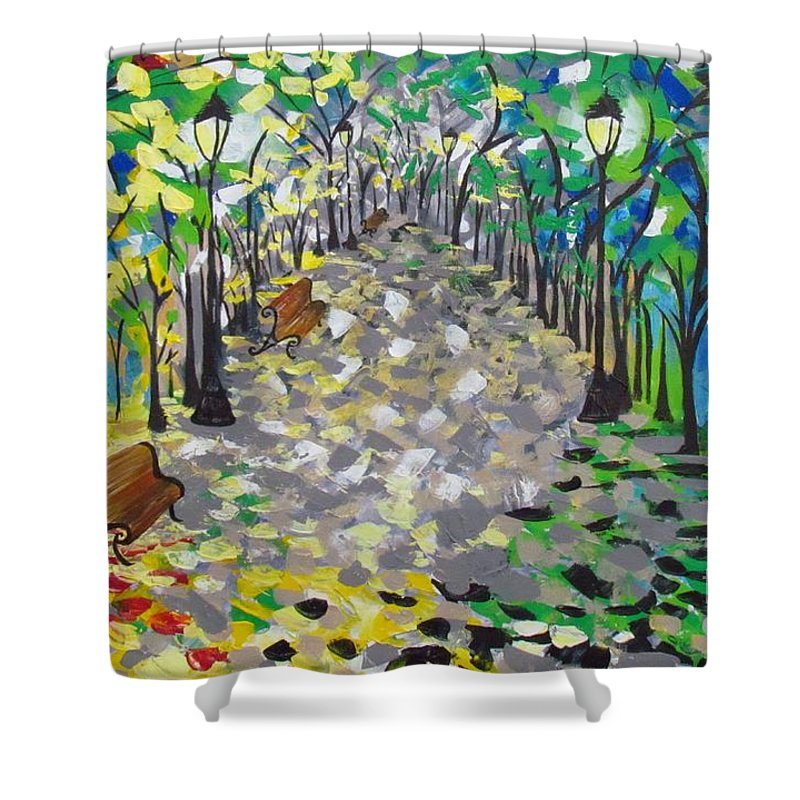 Central Park Shower Curtain featuring the painting Central Park Serenity by Mandy Joy