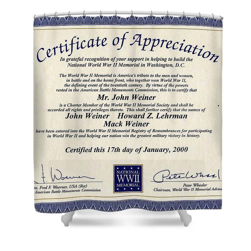 Certificate Of Appreciation Shower Curtain featuring the photograph Certificate Of Appreciation by Ericamaxine Price