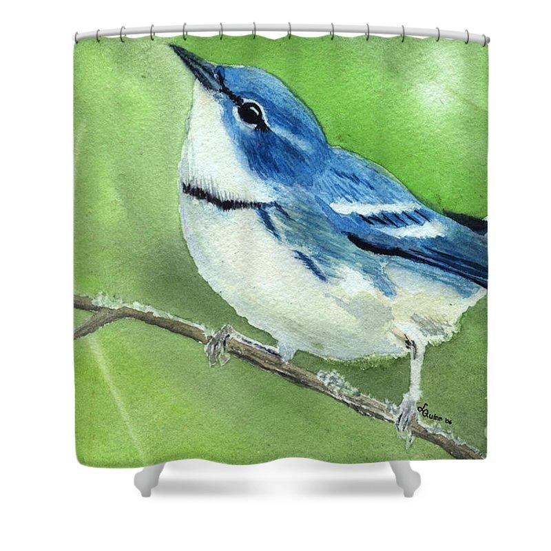Bird Shower Curtain featuring the painting Cerulean Warbler by Lynn Quinn