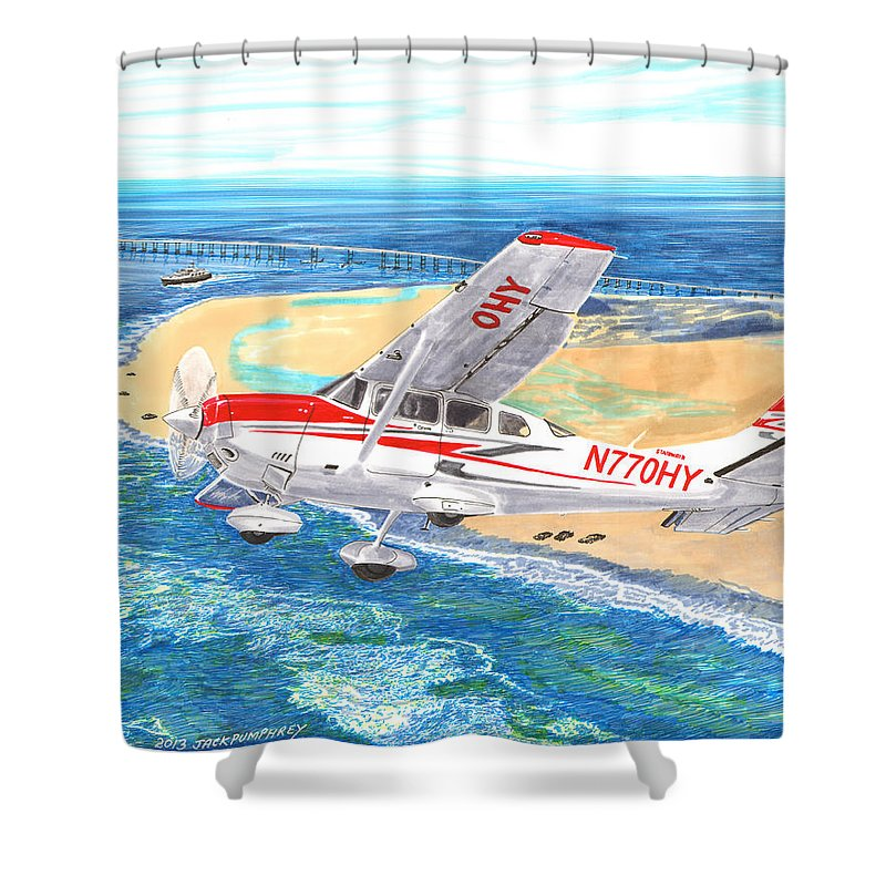 Thank You For Buying A 9 X 12 Wood Print To The Customer From Florida Shower Curtain featuring the painting Cessna 206 Flying Over The Outer Banks by Jack Pumphrey