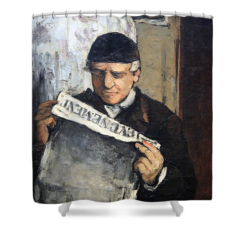 The Artist's Father Reading Le Evenement Shower Curtain featuring the photograph Cezanne's Father Reading Le Evenement by Cora Wandel