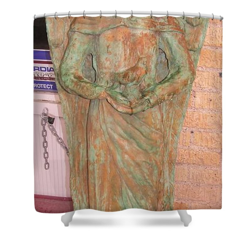 Chained Angel Pictures Shower Curtain featuring the photograph Chained Angel by Donna Wilson