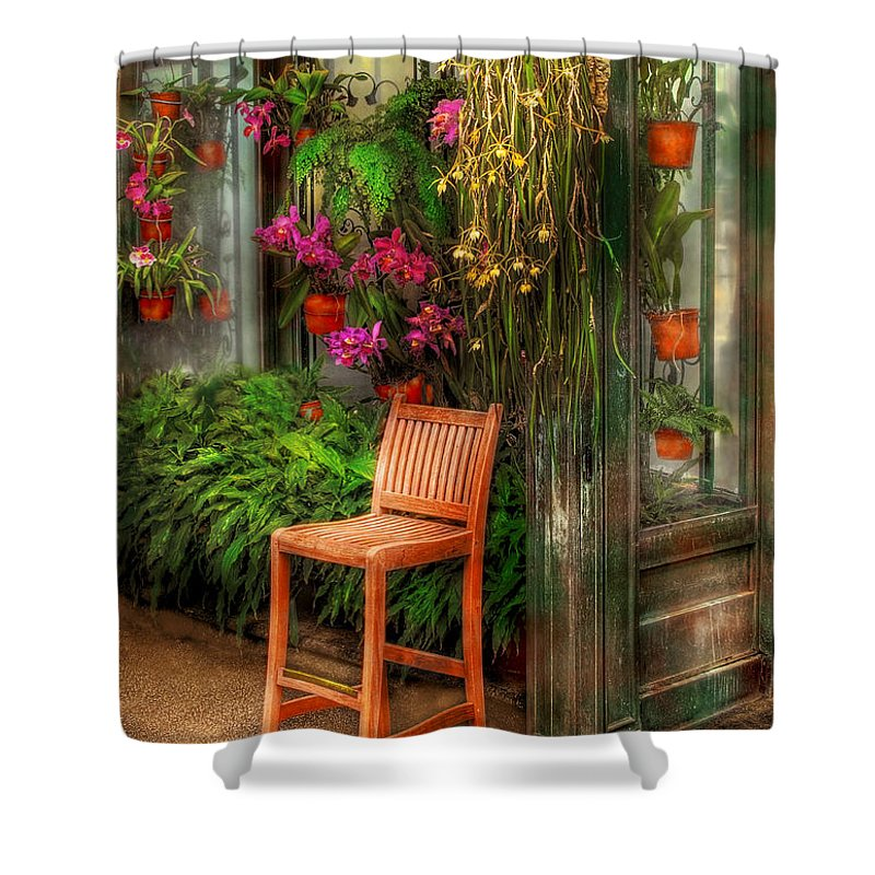 Seat Shower Curtain featuring the photograph Chair - The Chair by Mike Savad