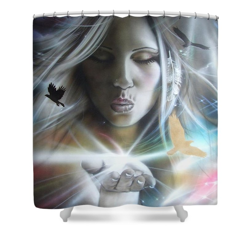 Kiss Shower Curtain featuring the painting Chakra by Christian Chapman Art