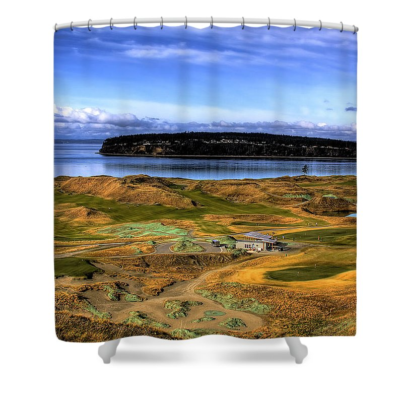 Chambers Bay Golf Course Shower Curtain featuring the photograph Chambers Bay Golf Course by David Patterson