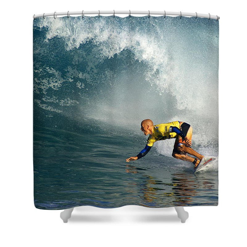 Kelly Slater Shower Curtain featuring the photograph Champion At Pipeline Masters by Kevin Smith