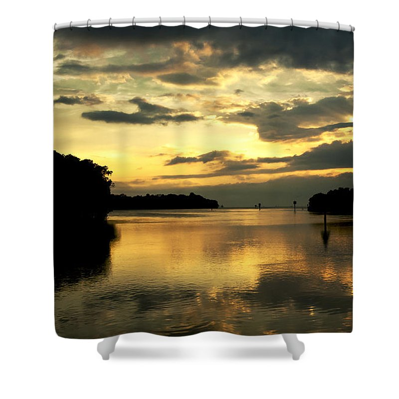 Sunset Shower Curtain featuring the photograph Channel To The Sunset by Norman Johnson