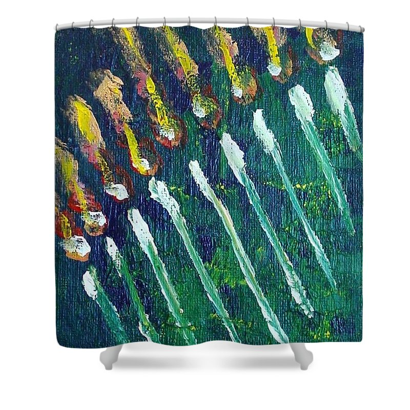 Chanukah Shower Curtain featuring the painting Chanukiah In The Dark by Laurie Morgan