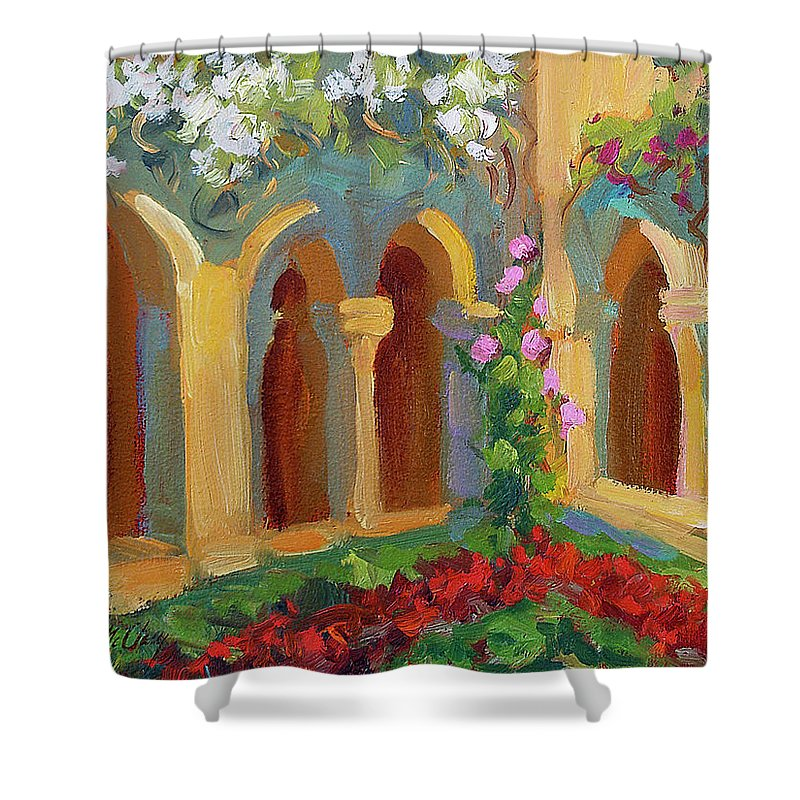 Chapel At St. Remy Shower Curtain featuring the painting Chapel At St. Remy by Diane McClary
