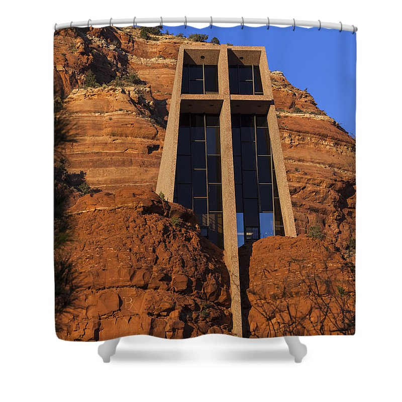 Architecture Shower Curtain featuring the photograph Chapel In The Rock by Ed Gleichman