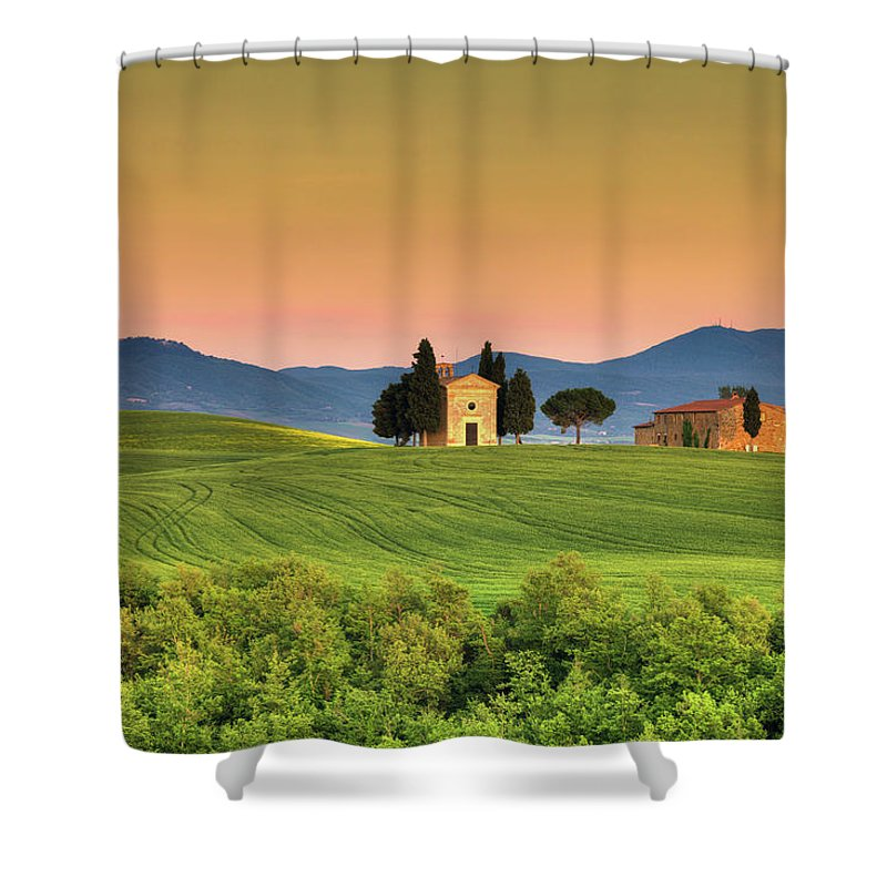 Roman Shower Curtain featuring the photograph Chapel Of Vitaleta In Tuscany, Val by Zodebala