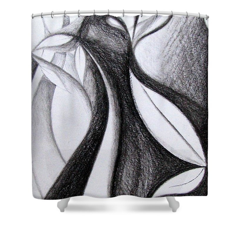 Artistic Shower Curtain Featuring The Drawing Charcoal Art Abstract By Prajakta P