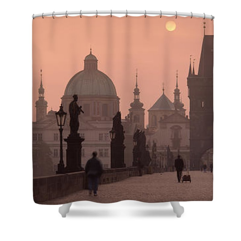 Photography Shower Curtain featuring the photograph Charles Bridge At Dusk With The Church by Panoramic Images