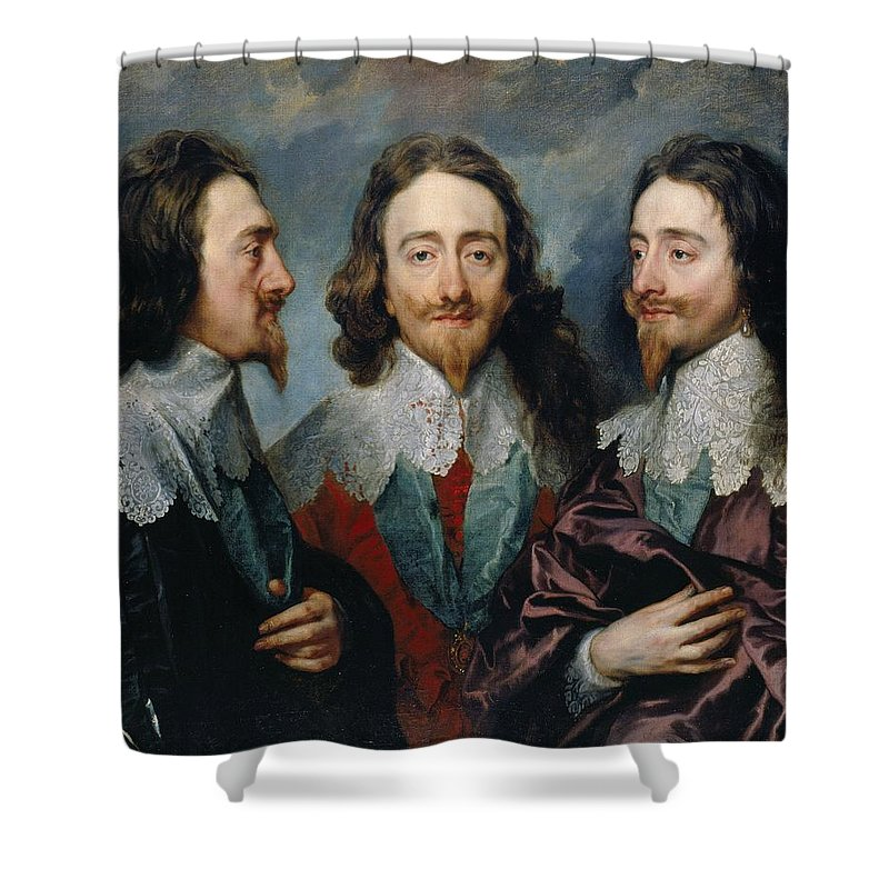 1635-1636 Shower Curtain featuring the painting Charles I by Anthony van Dyck