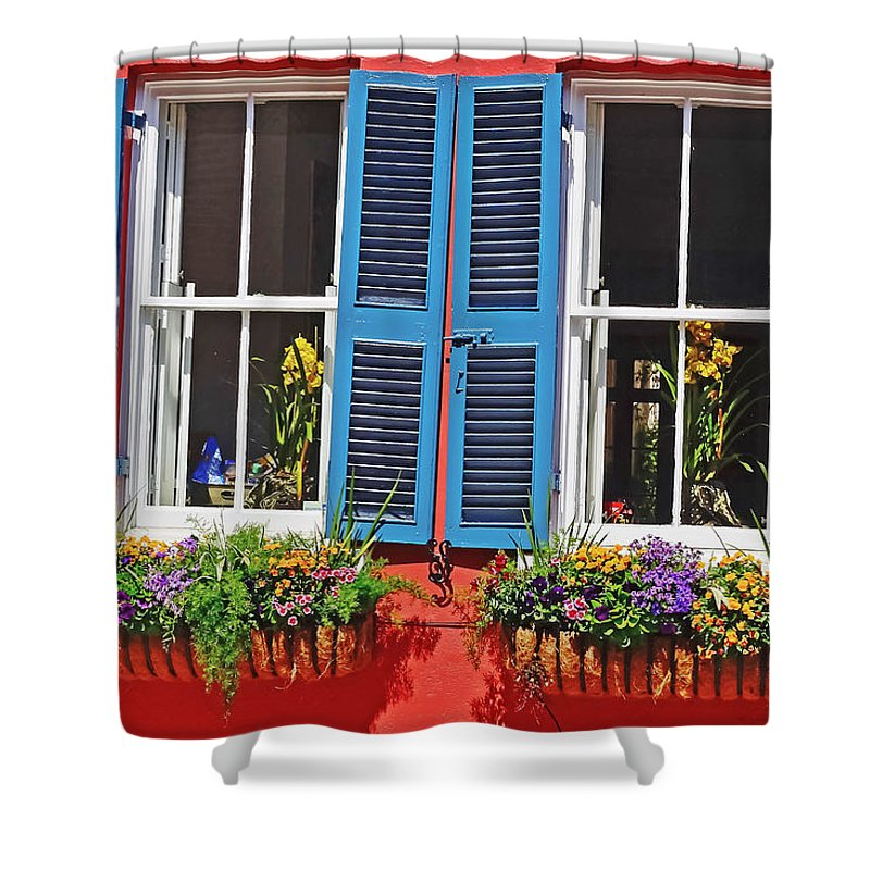 Travel Shower Curtain featuring the photograph Charleston Windows by Elvis Vaughn