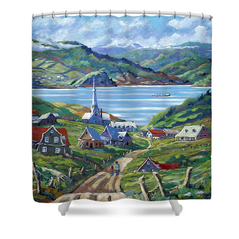 Shower Curtain featuring the painting Charlevoix Scene by Richard T Pranke