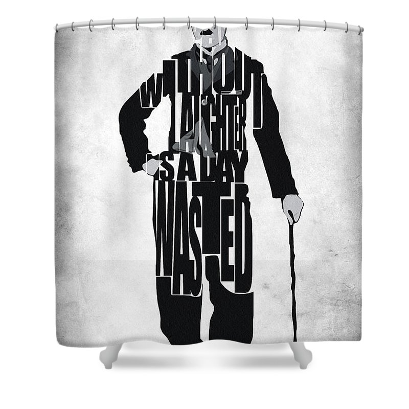 Charlie Chaplin Shower Curtain featuring the painting Charlie Chaplin Typography Poster by Inspirowl Design