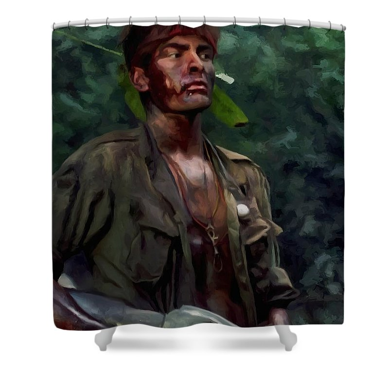 Platoon Shower Curtain featuring the digital art Charlie Sheen in Platoon by Gabriel T Toro
