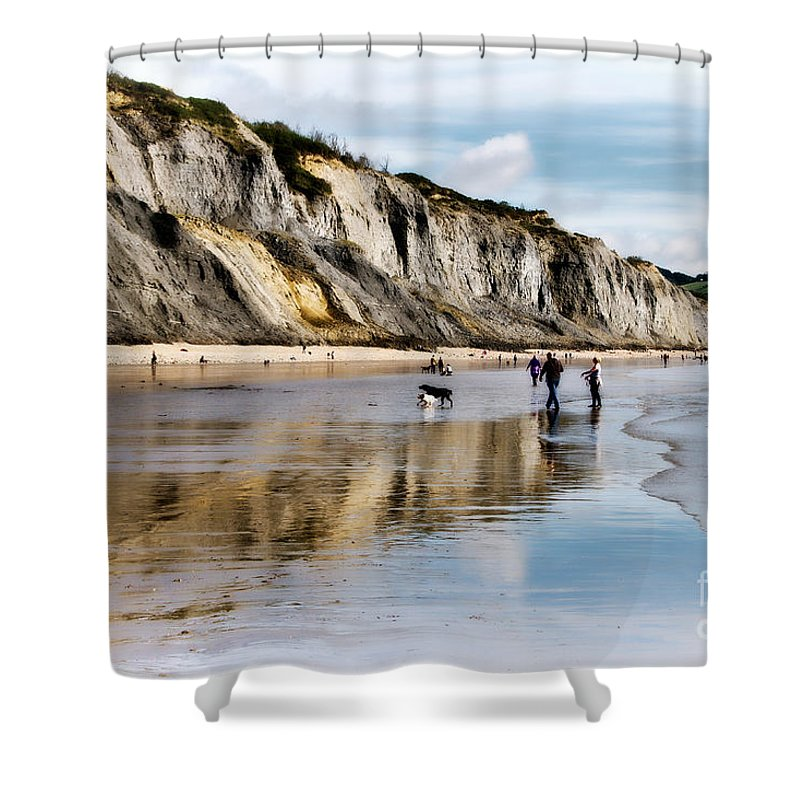 Charmouth Shower Curtain featuring the photograph Charmouth Beach by Susie Peek