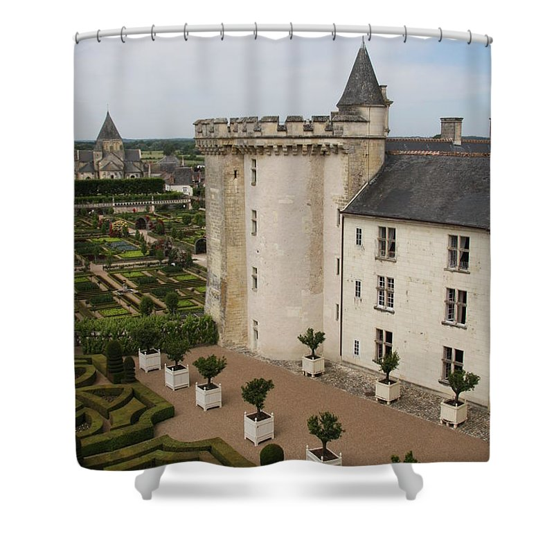 Palace Shower Curtain featuring the photograph Chateau And Garden - Villandry by Christiane Schulze Art And Photography