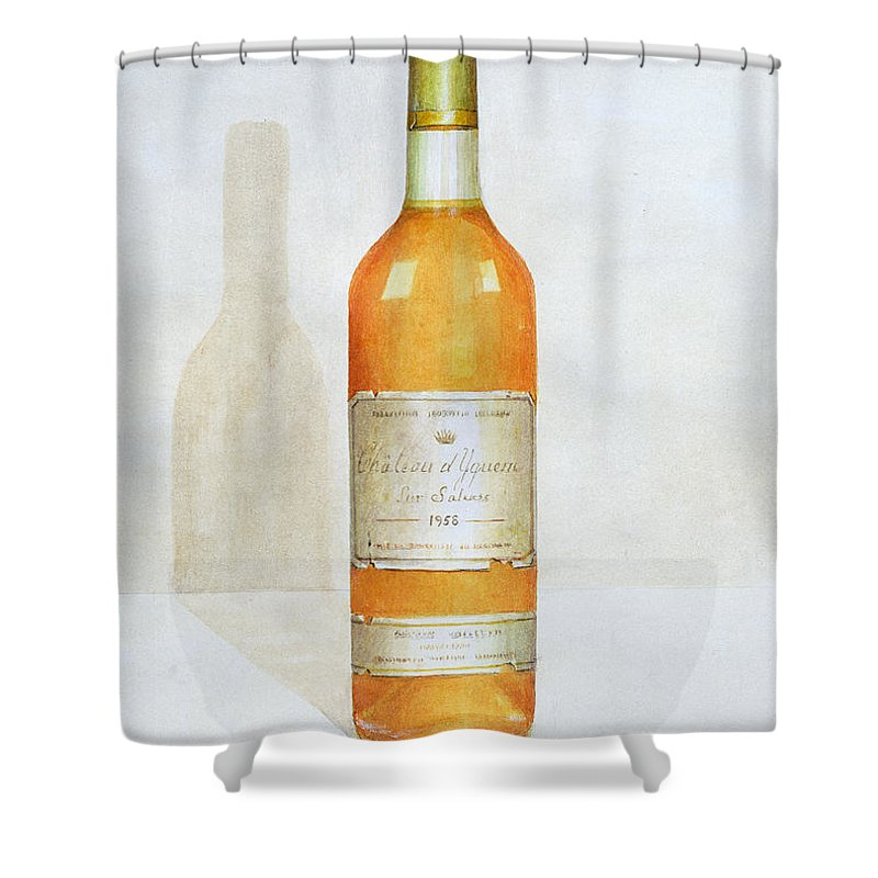 Bottle; Wine; Alcohol; Beverage; Label; Shadow; Labels Shower Curtain featuring the painting Chateau D Yquem by Lincoln Seligman