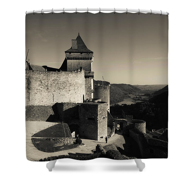 Photography Shower Curtain featuring the photograph Chateau De Castelnaud With Hot Air by Panoramic Images