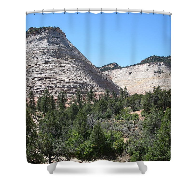 Mountains Shower Curtain featuring the photograph Checkerboard Mesa by Christiane Schulze Art And Photography