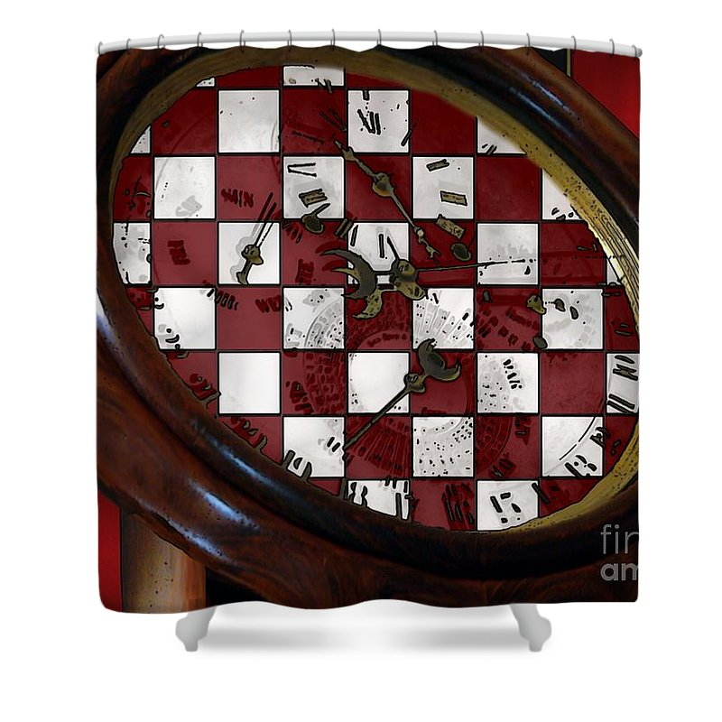Antique Shower Curtain featuring the painting Checkmate by RC DeWinter