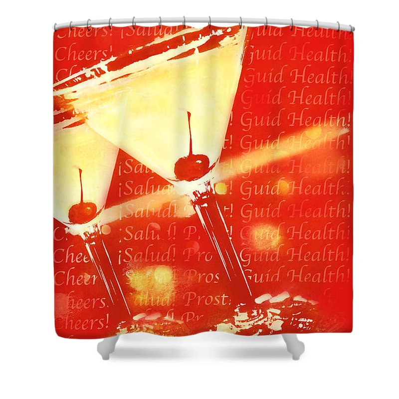 Graphic Poster Shower Curtain featuring the photograph Cheers by Erika Weber