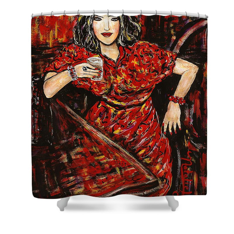 Woman Shower Curtain featuring the painting Cheers by Natalie Holland