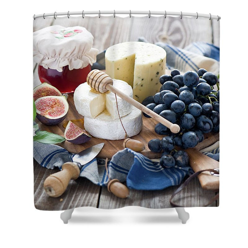 Plum Shower Curtain featuring the photograph Cheese Board by Verdina Anna