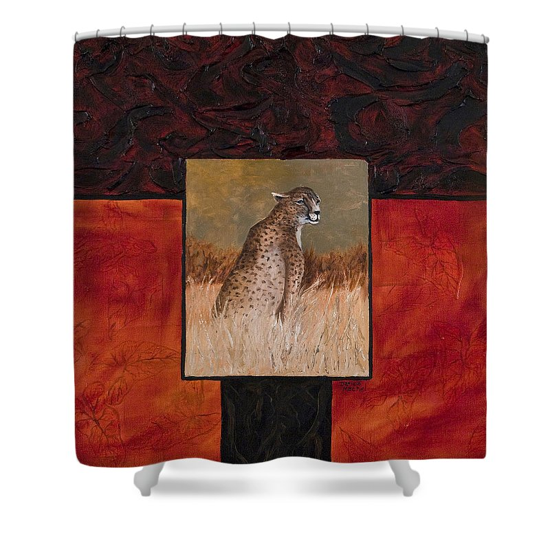 Animal Shower Curtain featuring the painting Cheetah by Darice Machel McGuire