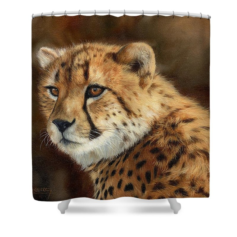 Cheetah Shower Curtain Featuring The Painting By David Stribbling