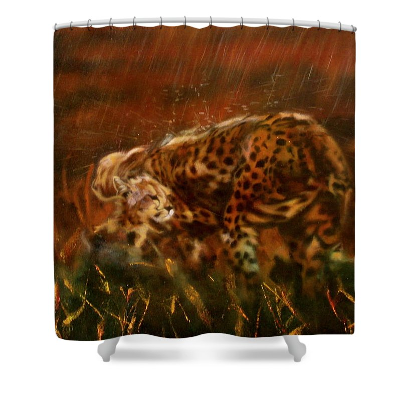 Rain;water;cats;africa;wildlife;animals;mother;shelter;brush;bush Shower Curtain featuring the painting Cheetah Family After The Rains by Sean Connolly